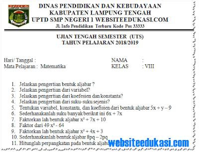 Soal PTS/ UTS Matematika Kelas 8 Semester 1 K13 Tahun 2018/2019