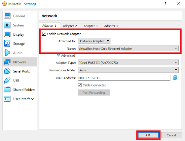 VirtualBox Host Only Adapter