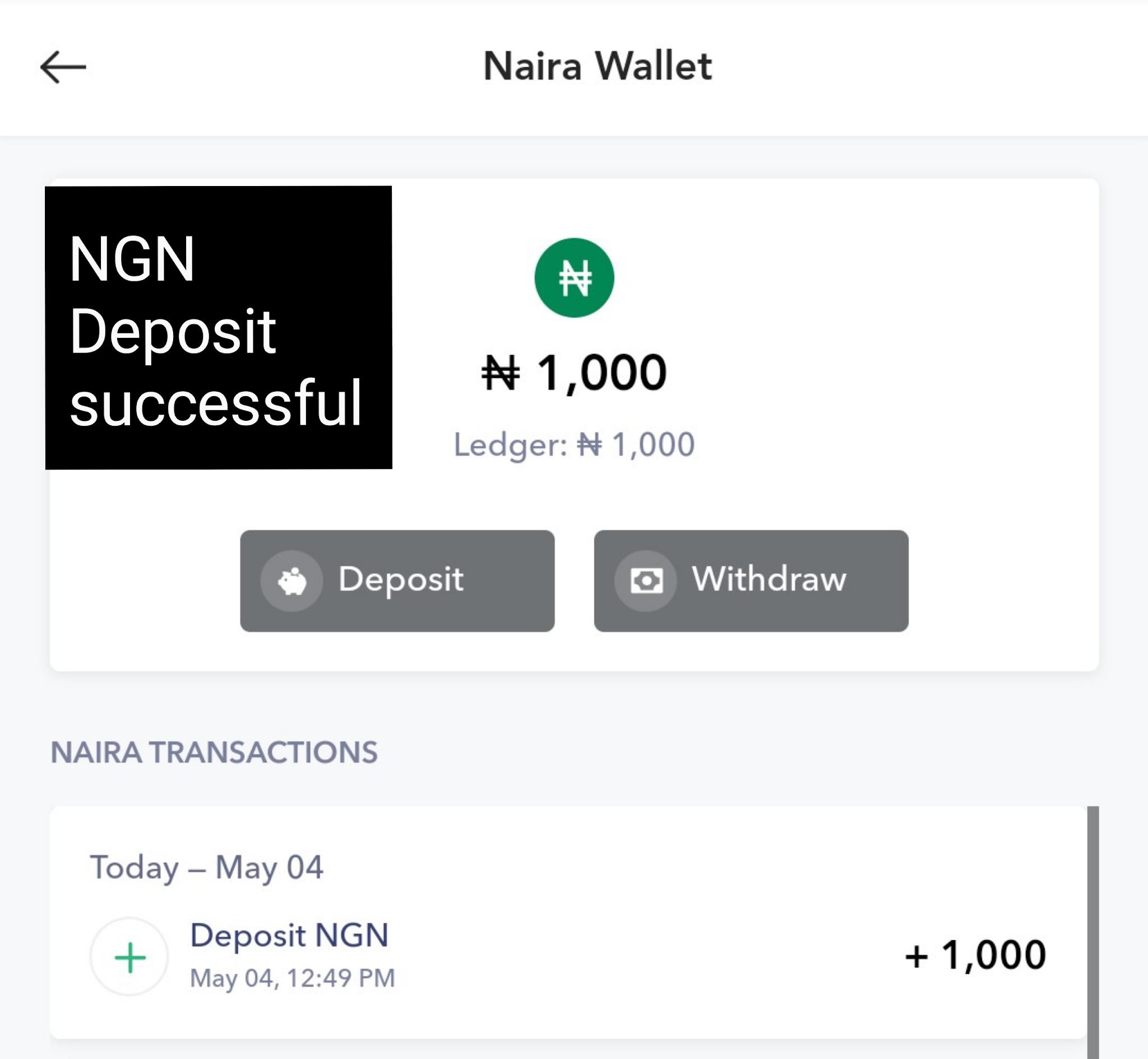 Deposit successful to buy crypto