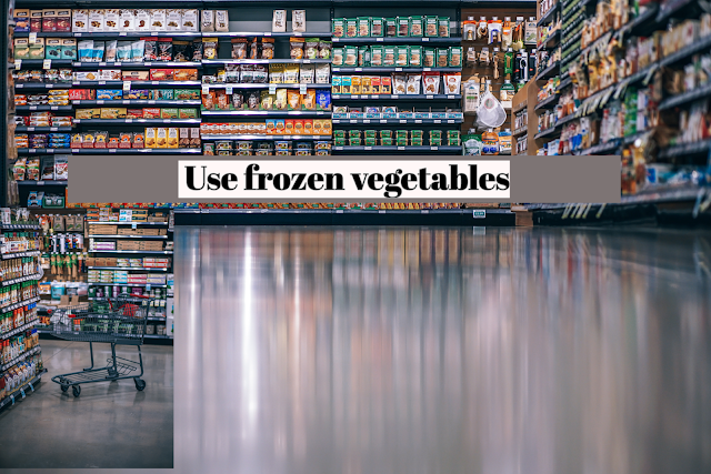 Keep a good supply of frozen vegetables; they are a convenient substitute for fresh vegetables. I especially like to keep frozen peas, green beans, mixed vegetables, and spinach on hand.