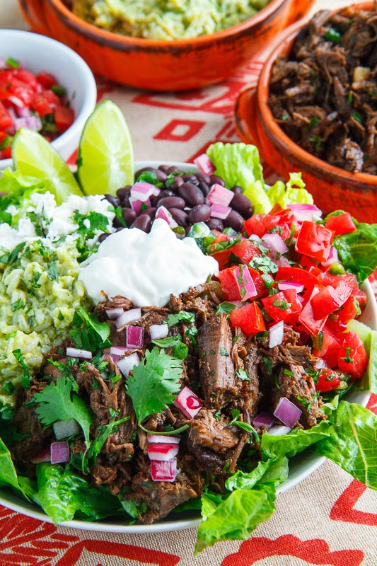 Barbacoa and Avocado Cilantro Lime Rice Burrito Salad Bowl