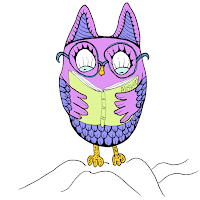 cute pink & blue owl with glasses reading a book