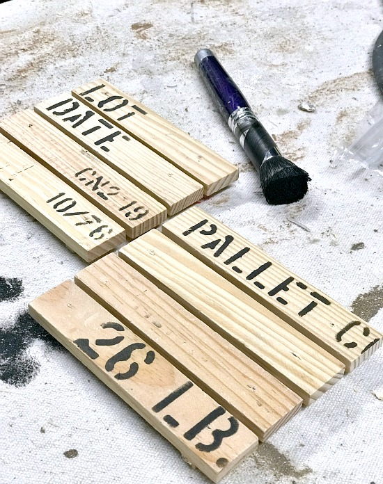 Rustic DIY Stenciled Coasters made to look like pallets