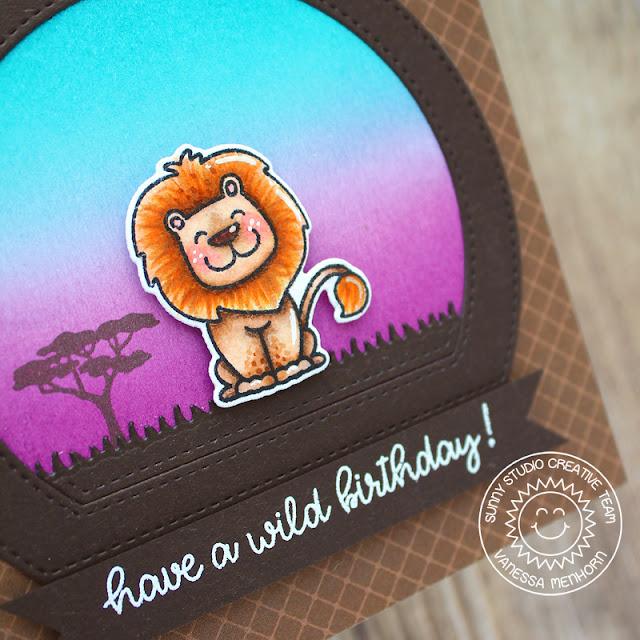 Sunny Studio Stamps: Stitched Semi-Circle Dies Savanna Safari Birthday Card by Vanessa Menhorn