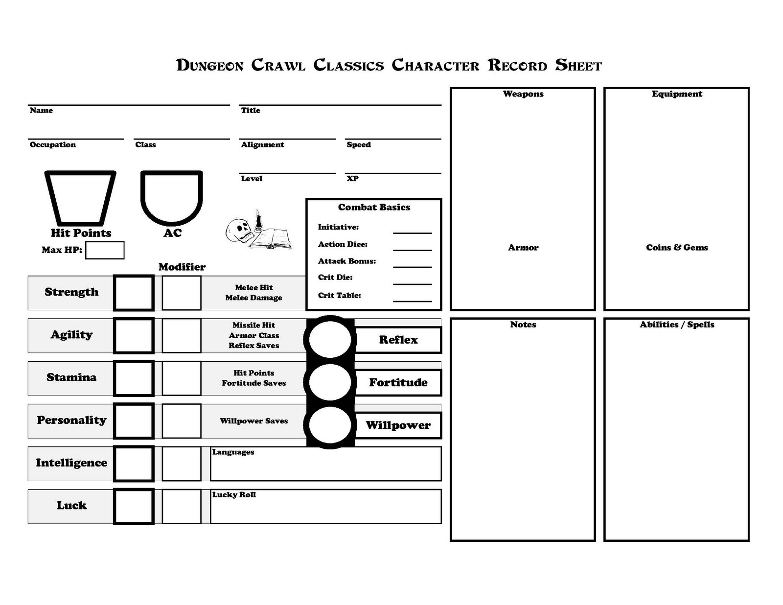 People Them With Monsters Dcc Rpg Character Sheet
