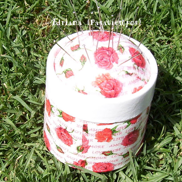 Cajas de cartón Decoupage con rositas Shabby