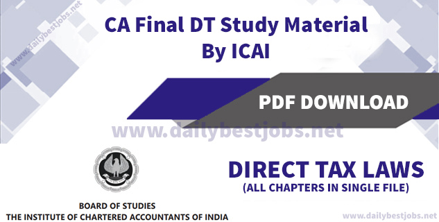 CA Final Direct Tax Study Material By ICAI For May 2018 PDF Download