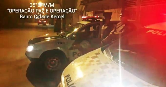 POLICIAIS, DO 35º BPM/M, REALIZAM A  'OPERAÇÃO PAZ E PROTEÇÃO' NA CIDADE KEMEL EM ITAQUAQUECETUBA VISANDO PREVENIR E CONTER A CRIMINALIDADE