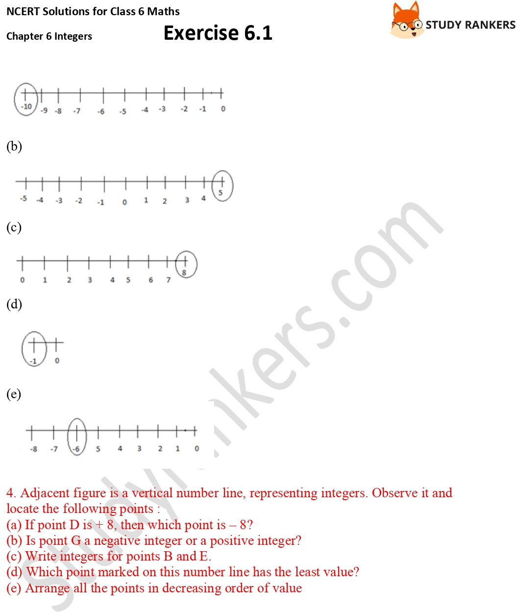 NCERT Solutions for Class 6 Maths Chapter 6 Integers Exercise 6.1 Part 2