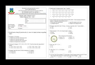Soal UAS Matematika KTSP Kelas 3 Semester 1