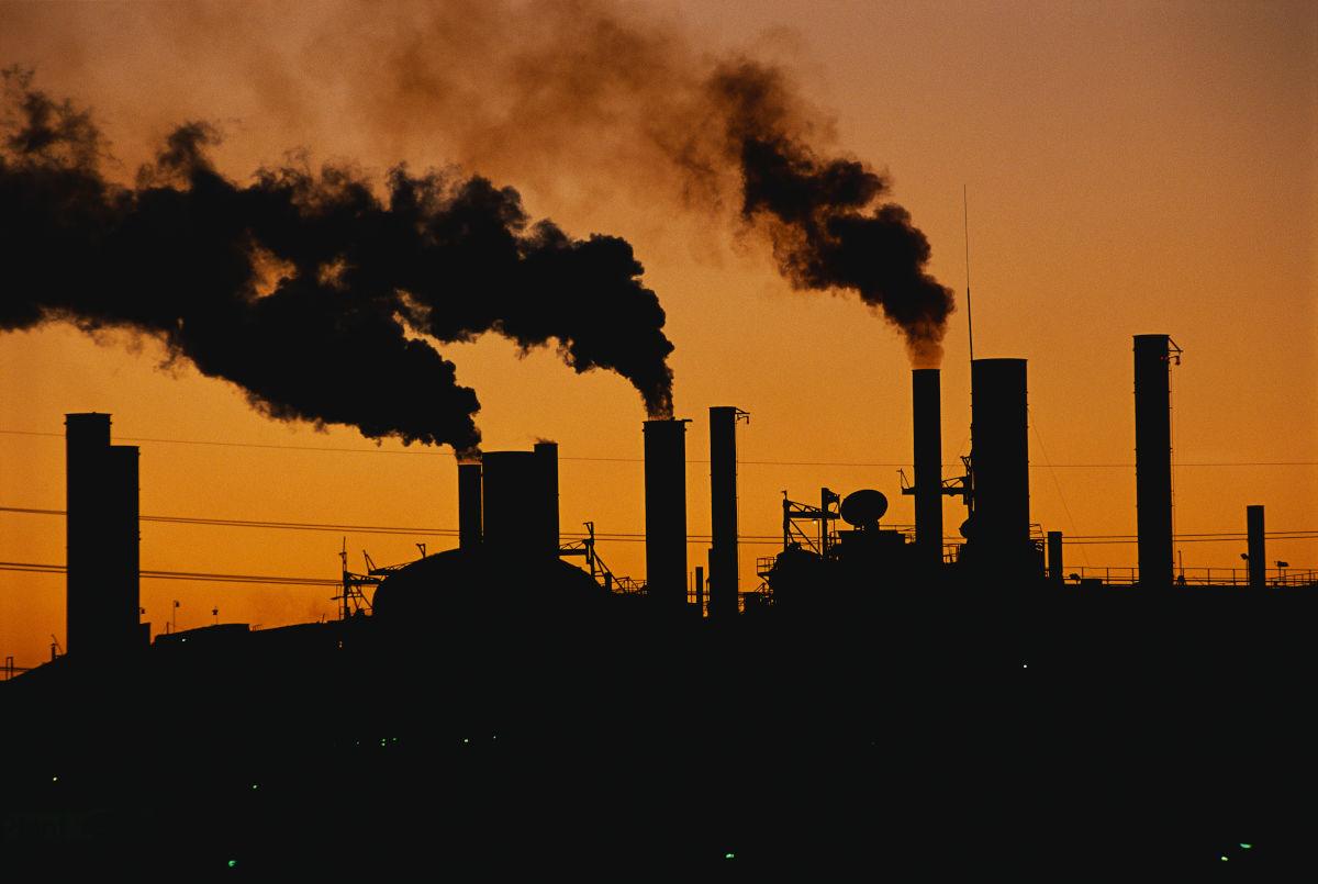 Smokestacks filling the skies of Detroit, Michigan