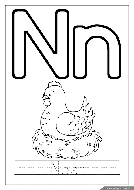 Printable English alphabet coloring page - letter n coloring