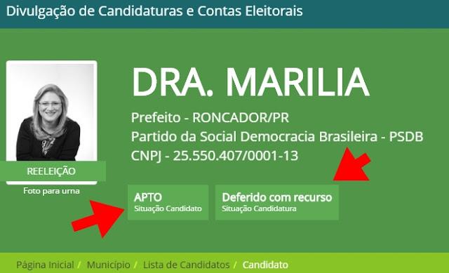 Roncador: Doutora Marília tem candidatura deferida e está apta para receber votos!