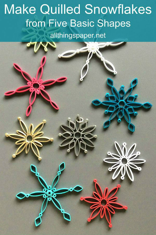 nine colorful and modern quilled snowflakes