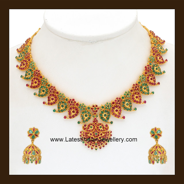Ruby Emerald Mango Necklace