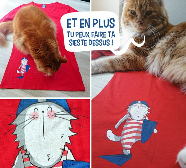 t-shirt rouge manches longues chat piscine