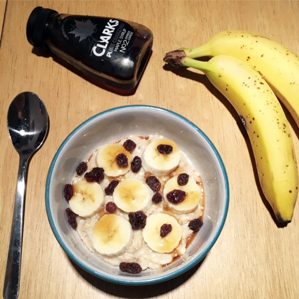 banana and maple syrup