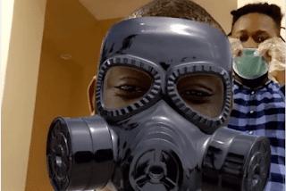 Coronavirus: Don Jazzy wears gas mask to barbing salon (video)