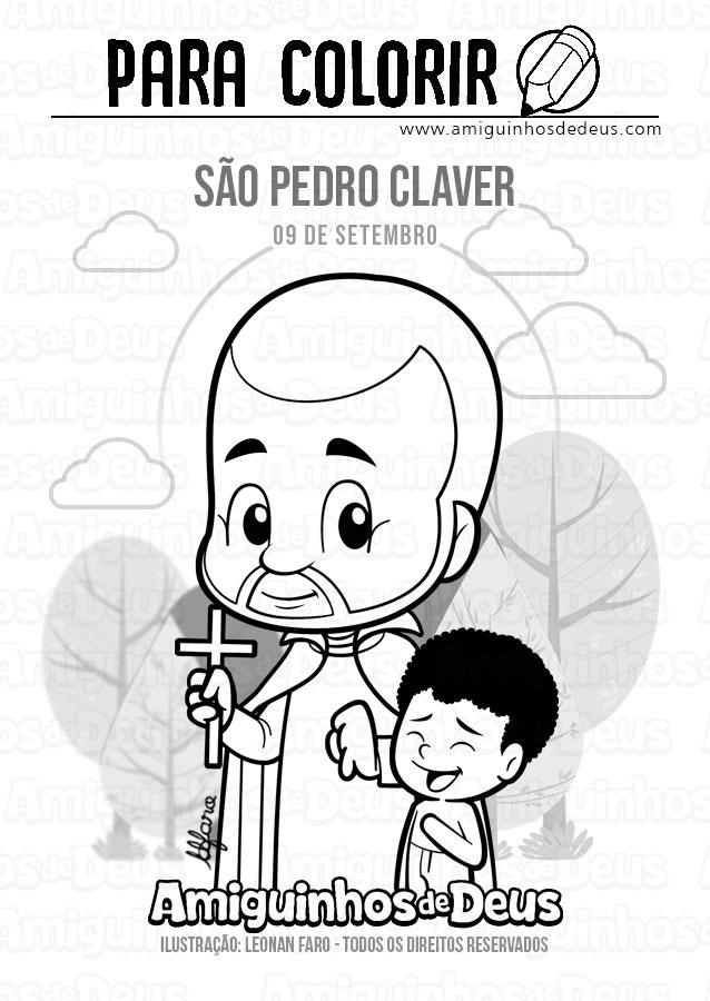 São Pedro Claver desenho para colorir