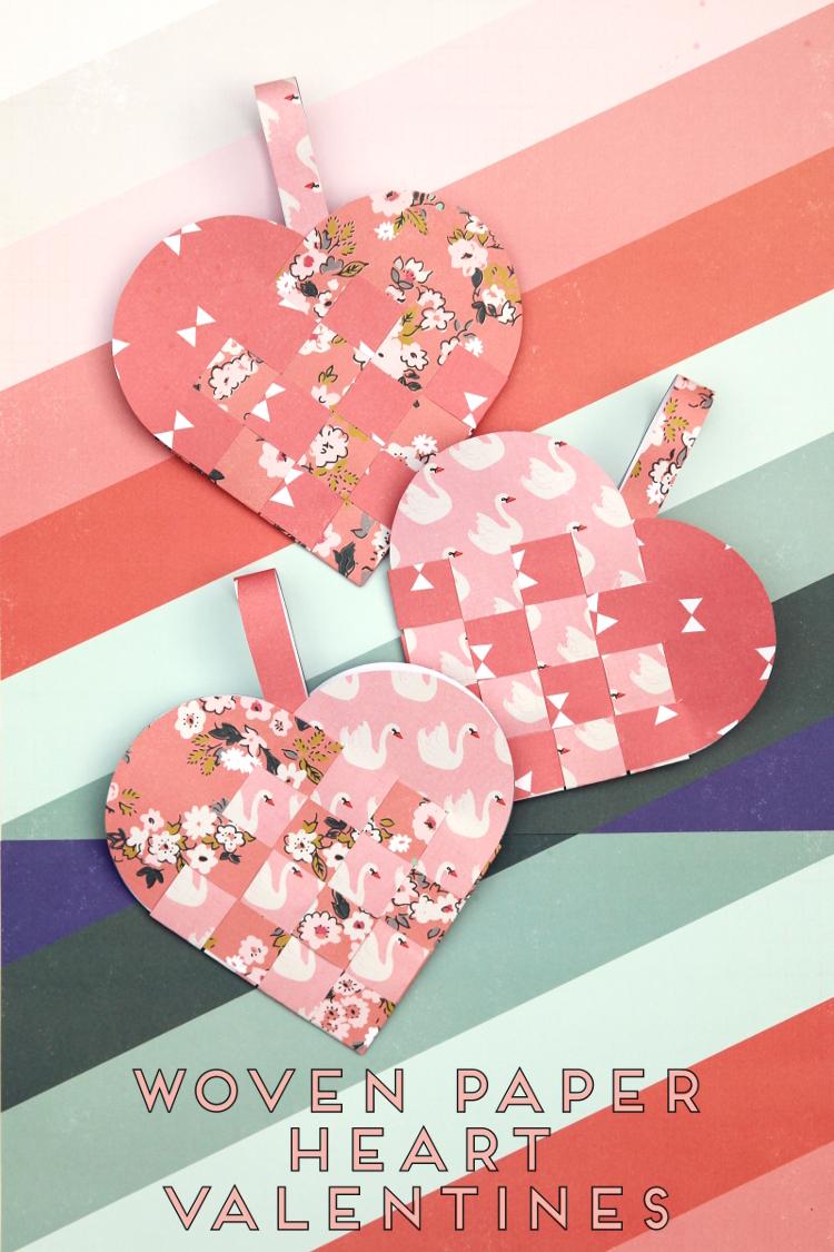 DIY WOVEN PAPER HEART BASKET VALENTINES.