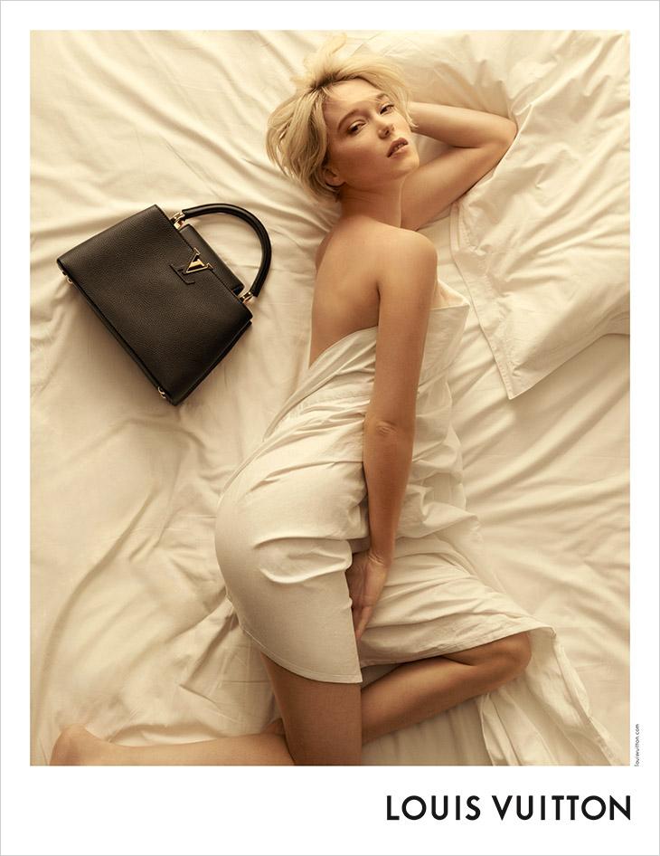 Lea Seydoux poses for the Louis Vuitton Capucines 2021 Campaign
