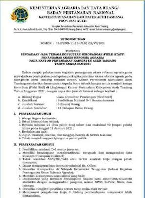 Lowongan Kerja Field Staff Kantor Pertanahan Aceh Tamiang