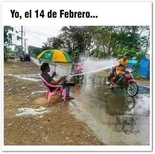 Meme San Valentín yo el 14 de febrero