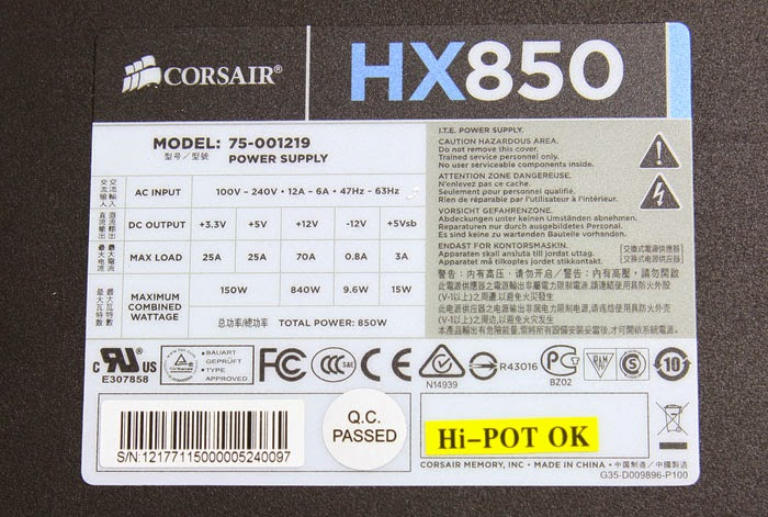 Label pada power supply corsair