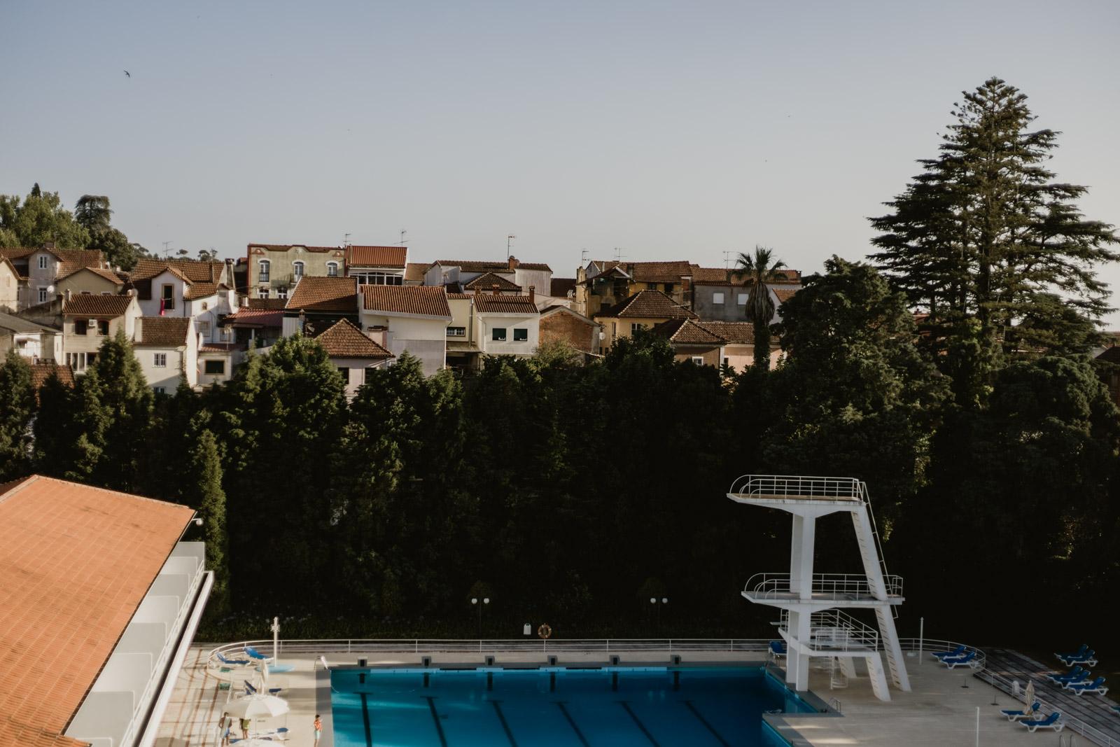 Vista para a piscina do quarto 317 do Grande Hotel de Luso