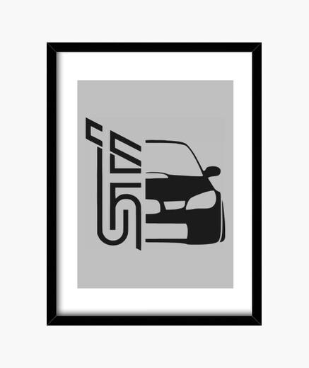 Pósters y Cuadros - Diseño Subaru STI (negro)
