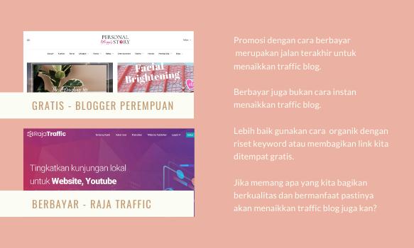 Contoh promosi blog berbayar dan gratis