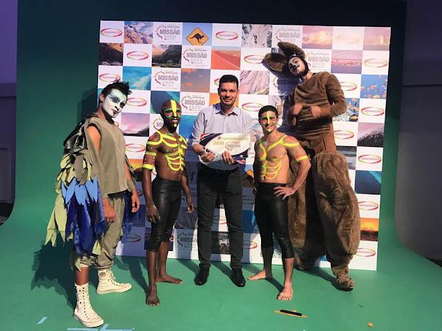 Produzimos a atração Canguru com perna de pau que pula para o evento de premiação da empresa Ajinomoto que solicitou show tematico Australia.