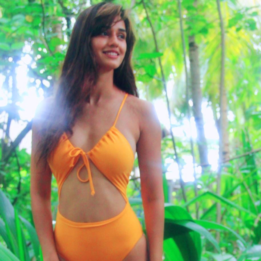 Disha Patani in orange Swimsuit