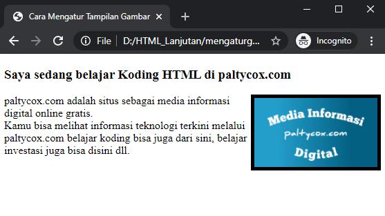 atribut border mengatur tampilan gambar di html