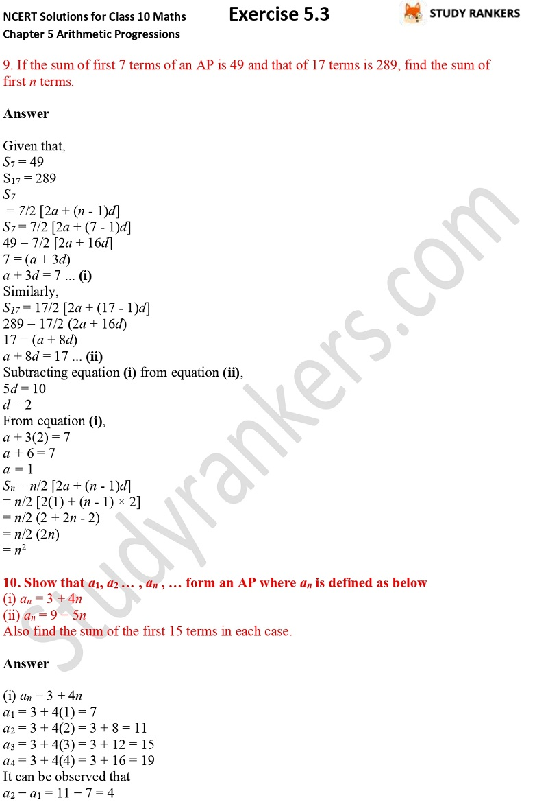 NCERT Solutions for Class 10 Maths Chapter 5 Arithmetic Progressions Exercise 5.3 Part 1 Part 9