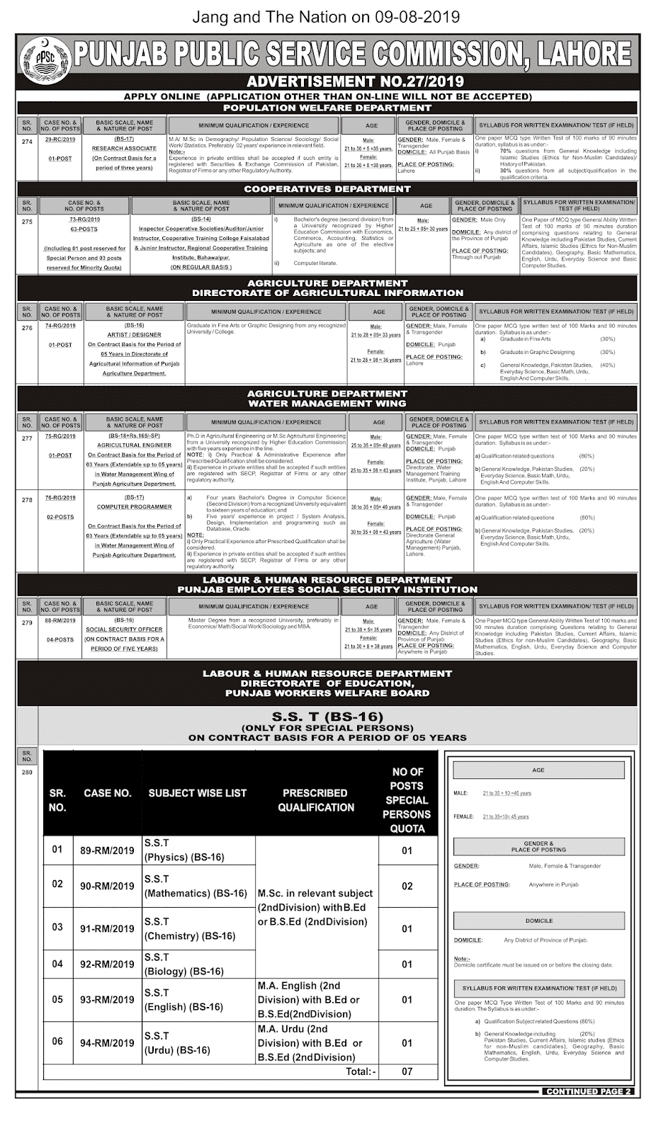 PPSC Advertisement 27/2019 Page Number 1/2