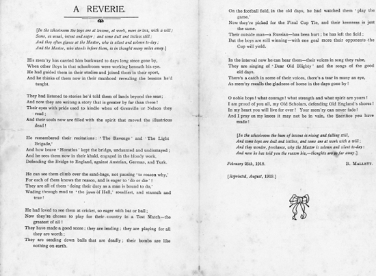 Scan of a reverie dedicated to the old scholars of Welham Green Boys' School who fought in WWI - Image from P. Miller / B. Mallett