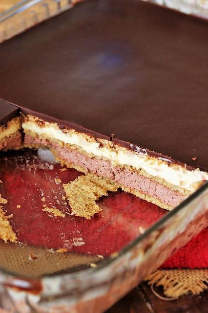 Vanilla & Chocolate No-Bake Eclair Dessert in Pan Image