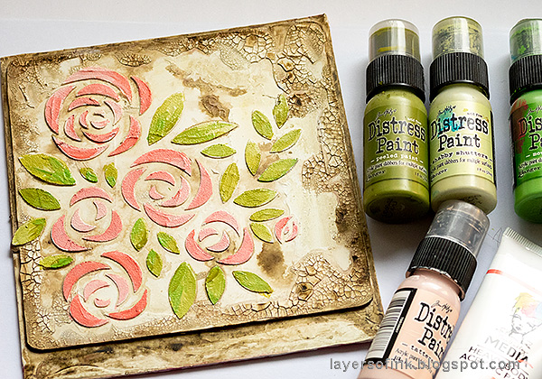 Layers of ink - Roses Mixed Media Panel Tutorial by Anna-Karin Evaldsson. Paint the roses with acrylic paint.