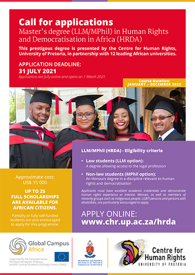 University of Pretoria Scholarships for Masters in Human Rights and Democratization