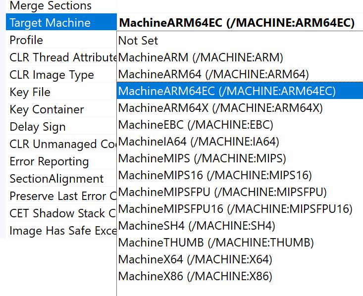 A screenshot of the target machine options in the C++ linker settings in Visual Studio 2019