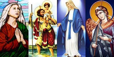 imagem de Santa Mônica, São Cristóvão, Nossa Senhora e São Rafael Arcanjo