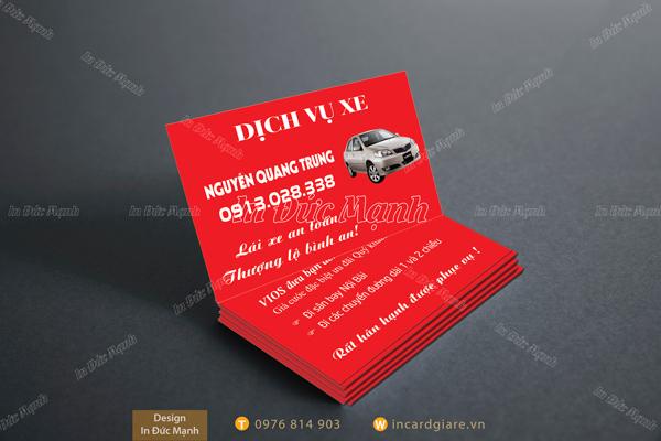 Mẫu card visit Dịch vụ xe