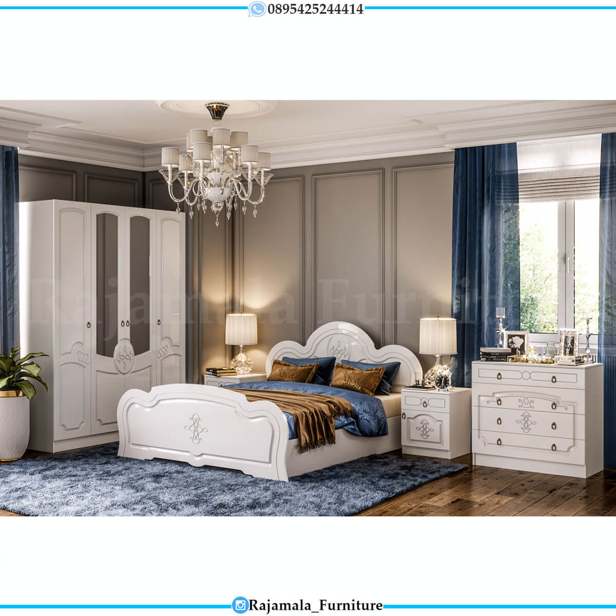 Dipan Mewah Minimalis Putih Bedroom Set Luxury Color RM-0230