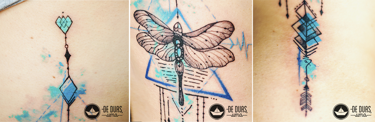 blue watercolor tattoo dragonfly deduasuma