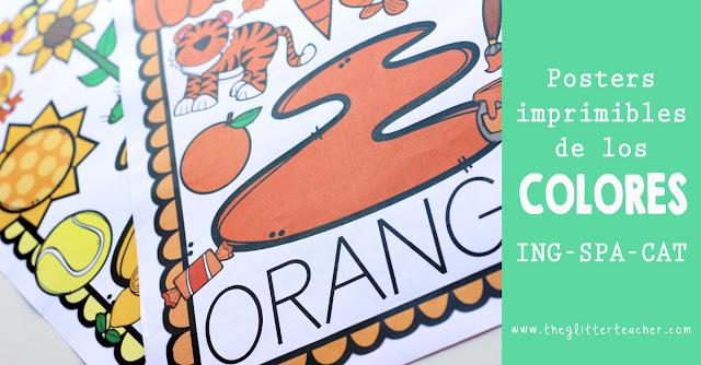 Posters de los colores en inglés, castellano y catalán