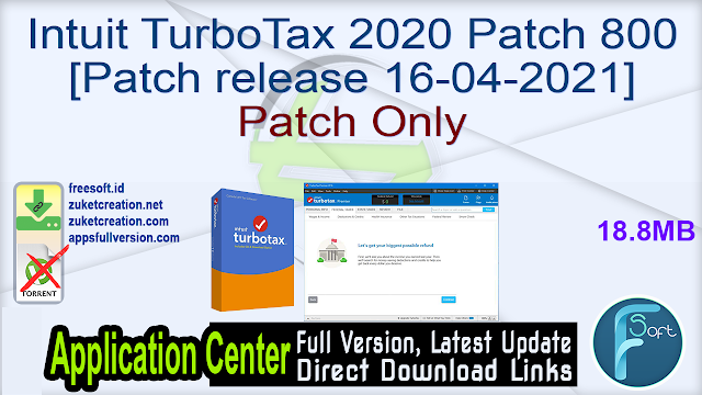Intuit TurboTax 2020 Patch 800 [Patch release 16-04-2021] Patch Only