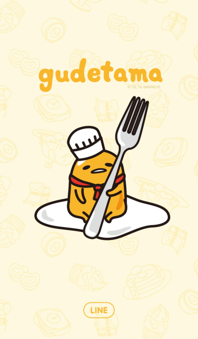 gudetama in a restaurant