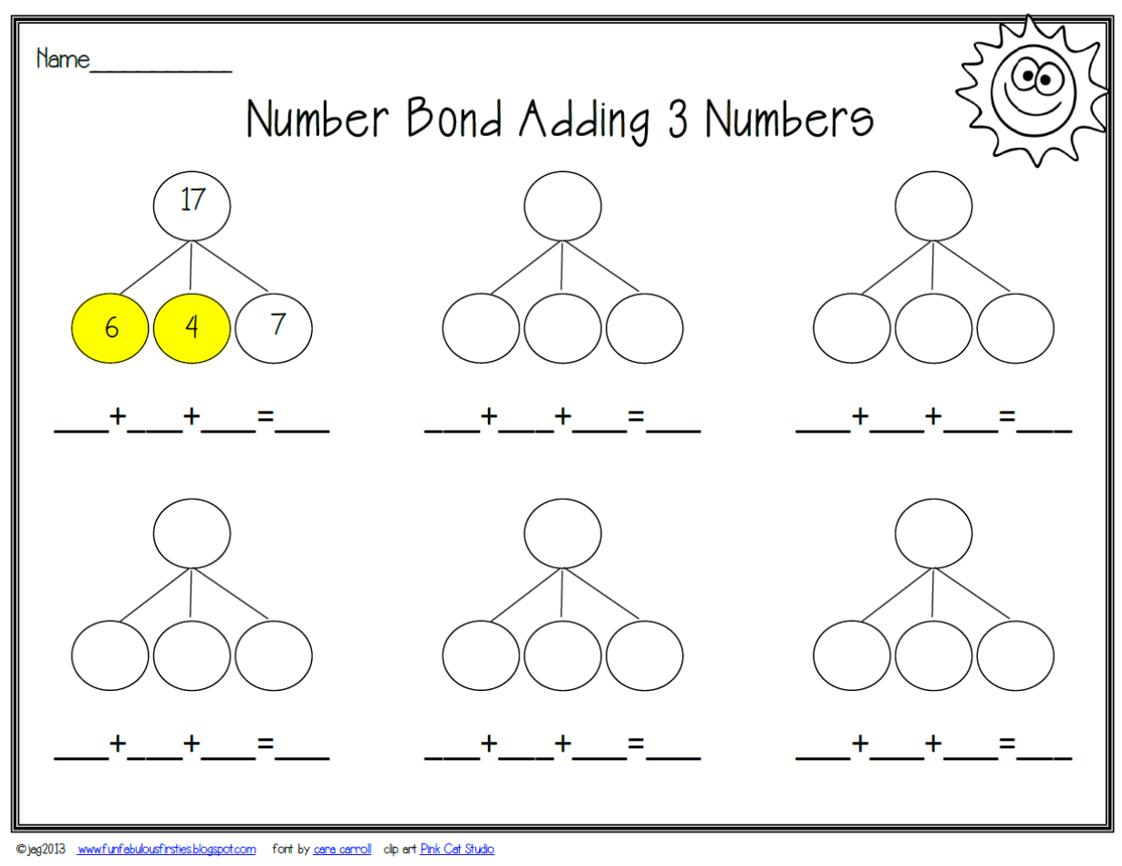 5 For Number Bonds Worksheet