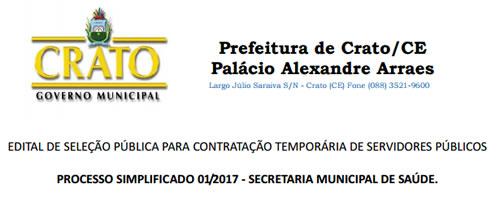 Prefeitura do Crato divulga edital para quase 300 vagas na Saúde ... aa710afa4e348